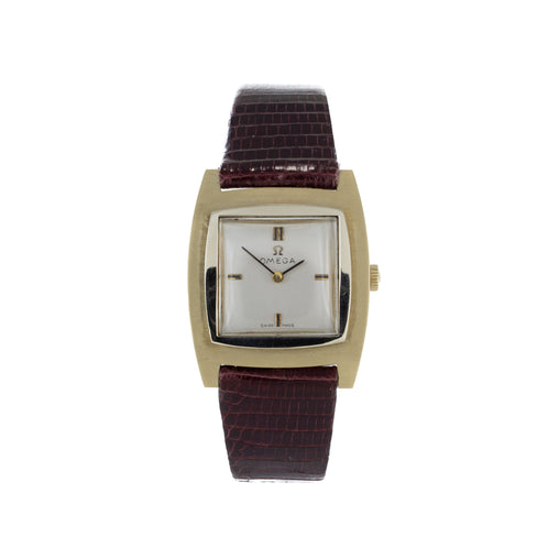OMEGA 14K GOLD & LEATHER WATCH 14.1 DWT
