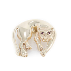 PANTHER PENDANT RUBY EYES 14k YELLOW GOLD