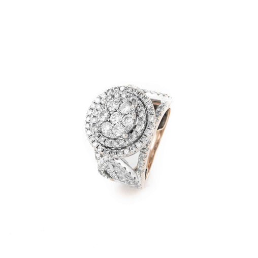 CLUSTER DIAMOND RING 10K 2TONE 2.7ATW SIZE 7