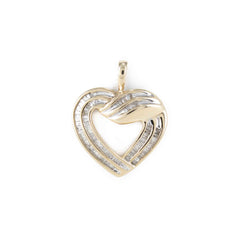 DIAMOND BAGUETTE HEART PENDANT 14K GOLD