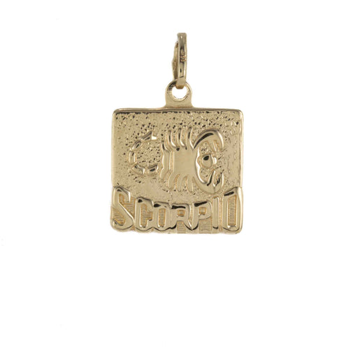ZODIAC SCORPIO SQUARE PENDANT 14K YELLOW GOLD