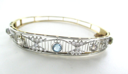 015013403 14KT YELLOW & WHITE GOLD BRACELET 30 DIAMONDS 1.50 CARAT BANGLE