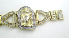 015903001 10KT YELLOW GOLD BANGLE BRACELET JESUS PRAYER RELIGIOUS 33.9 GRAMS