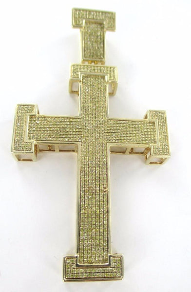 10K SOLID YELLOW GOLD PENDANT CROSS 858 GENUINE DIAMONDS 4.30 CARAT 016124402