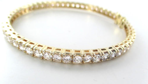 14KT YELLOW GOLD BANGLE BRACELET 52 DIAMONDS 8.00 CARAT 16.7 GRAMS FINE JEWELRY