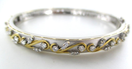 015826301 18KT WHITE YELLOW GOLD BRACELET BANGLE 98 DIAMONDS 1.95 CARA JEWELRY