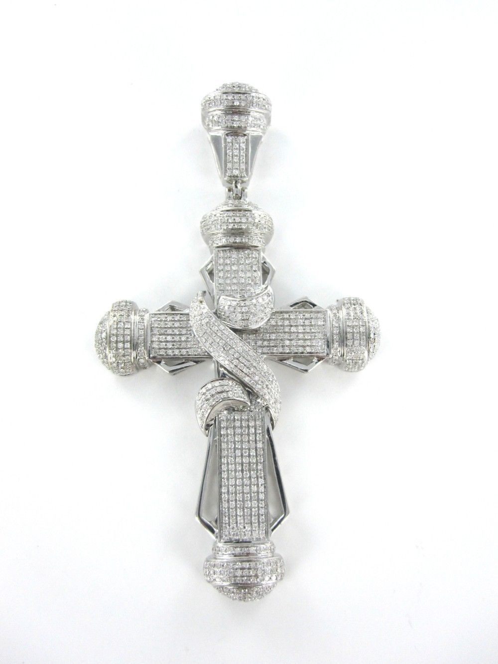 10KT WHITE GOLD PENDANT CHARM 772 DIAMOND BIG CROSS 15.3DWT FAITH SPIRITUAL GOD