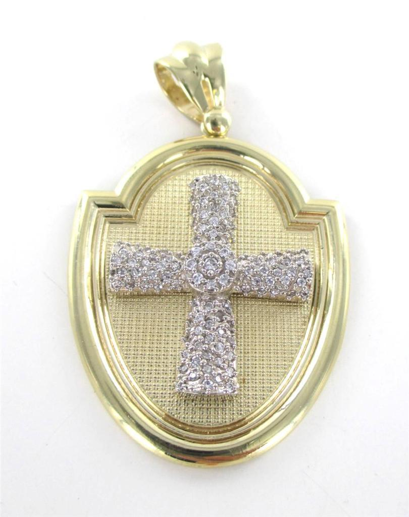 "10K YELLOW GOLD LARGE PENDANT CROSS BLESS US ""CAL"" RELIGIOUS FAITH 015748201"