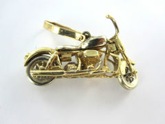 14KT YELLOW GOLD PENDANT DIAMOND MOTORCYCLE BIKE PENDANT CHARM CHOPPER MOVE 3D