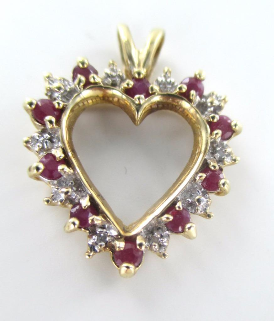 10K SOLID YELLOW GOLD PENDANT HEART LOVE VALENTINES CHARM 6 DIAMONDS