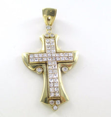 10K SOLID YELLOW GOLD PENDANT CROSS 53 WHITE STONES ZIRCONIA LARGE 016124401