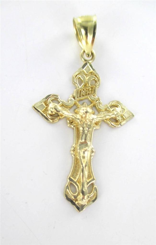 10KT SOLID YELLOW GOLD PENDANT CRUCIFIX CROSS JESUS 2.1 GRAMS FAITH