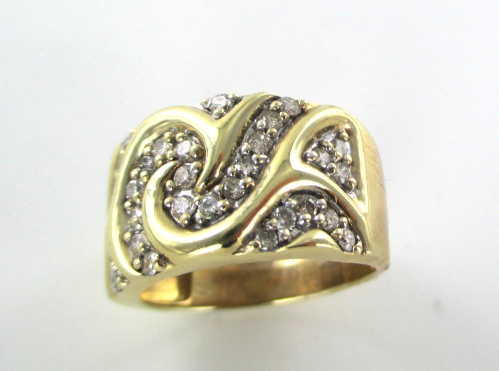 10K SOLID YELLOW GOLD 32 GENUINE DIAMONDS 1 CARAT SCROLL DESIGN NOT SCARP SZ 8