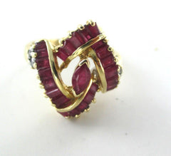 14KT YELLOW GOLD RING SIZE 6 WEDDING BAND 4 DIAMOND .08 CARAT RUBY ENGAGEMENT