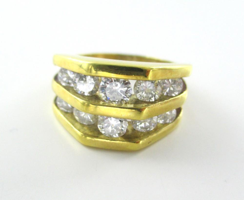 18KT YELLOW GOLD RING 10 DIAMONDS 2 CARAT WEDDING BAND 10.8 GRAMS  SZ 7 SOLID