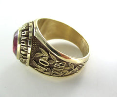 14K SOLID YELLOW GOLD RING SZ 13  MIAMI LAUDERDALE 10 YEARS MANHEIM 015607801