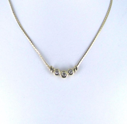 016220717 14KT YELLOW GOLD CHAIN 3 DIAMOND FINE NECKLACE