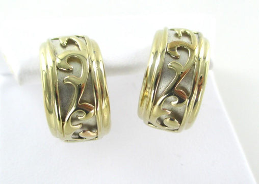 10KT YELLOW & WHITE SOLID GOLD HALF HOOP DESIGN EARRINGS PIERCED JEWEL 015374409