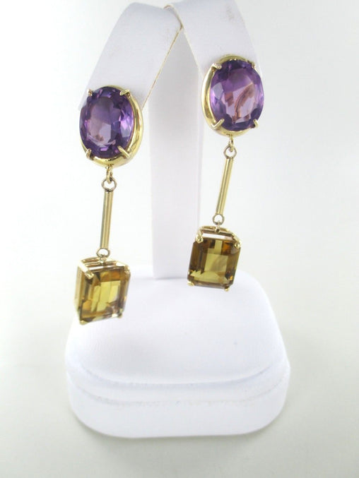 016175007 14KT YELLOW GOLD EARRINGS SEMI PRECIOUS STONES AMETHYST DANGLE JEWELRY