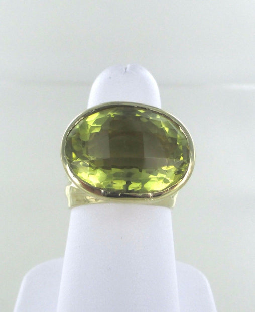 015750601 14KT SOLID YELLOW GOLD CITRINE OVAL FACETED RING SIZE 7
