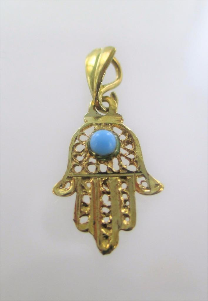 10KT GOLD BLUE STONE HAMSA HAND OF GOD PROTECTION KABBALAH HEBREW