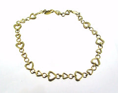 14KT SOLID YELLOW GOLD HEART CHAIN ANKLET VALENTINE 9IN 014686402