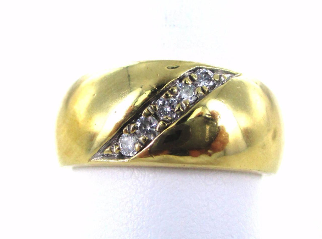 14KT SOLID YELLOW GOLD 5 DIAMOND SIZE 8.5 WEDDING BAND RING 990053889