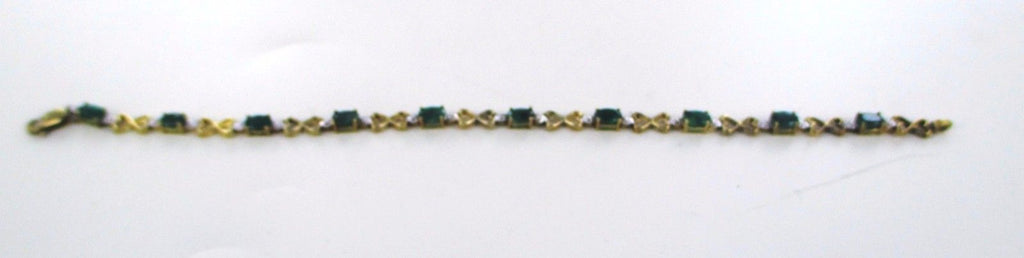 "10KT SOLID YELLOW GOLD 7"" 2 DIAMONDS GREEN EMERALD LINK BRACELET 015951802"