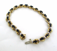 10KT SOLID YELLOW GOLD 20 DIAMOND MIDNIGHT SKY BLACK NEGRO STONE TENNIS BRACELET