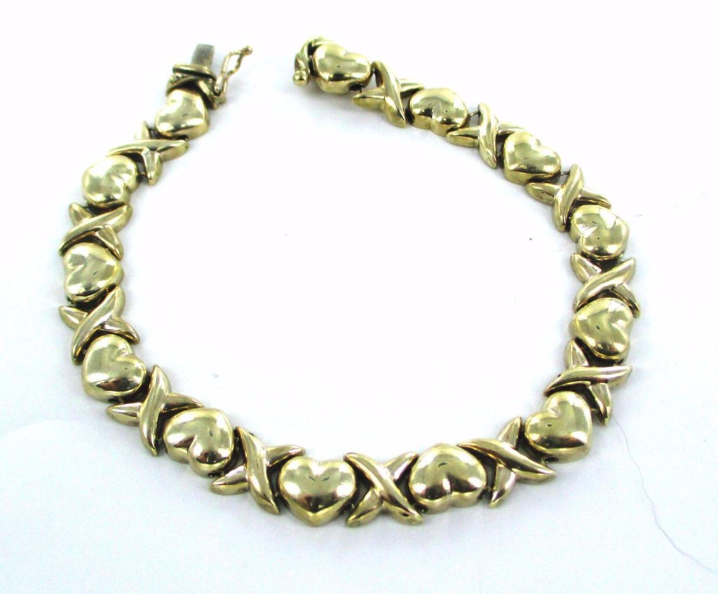 "10KT SOLID YELLOW GOLD X & HEARTS I LOVE YOU VALENTINE MESSAGE 7.5"" BRACELET"