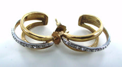 10KT SOLID YELLOW & WHITE GOLD TWO TONE 18 DIAMONDS HALF HOOP EARRINGS