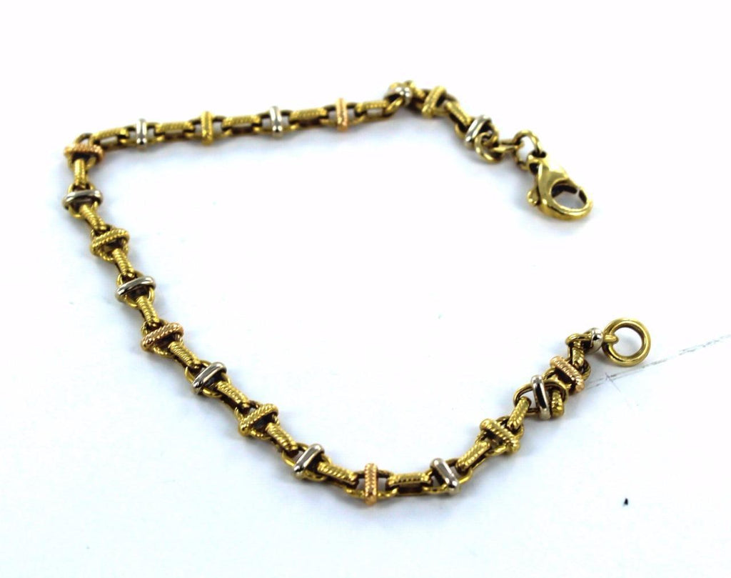 "18KT SOLID YELLOW & WHITE GOLD TWO TONE ANCHOR LINK 7.75"" BRACELET"