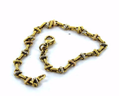 18KT SOLID YELLOW & WHITE GOLD TWO TONE ANCHOR LINK 7.75