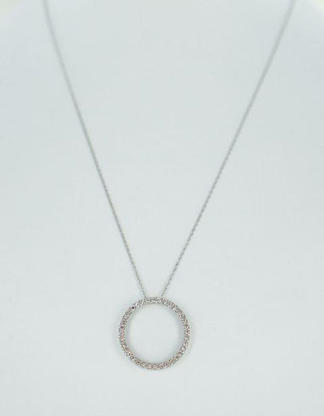 10KT WHITE GOLD CIRCLE OF LOVE DIAMOND PENDANT .72ATW & CHAIN 015598701