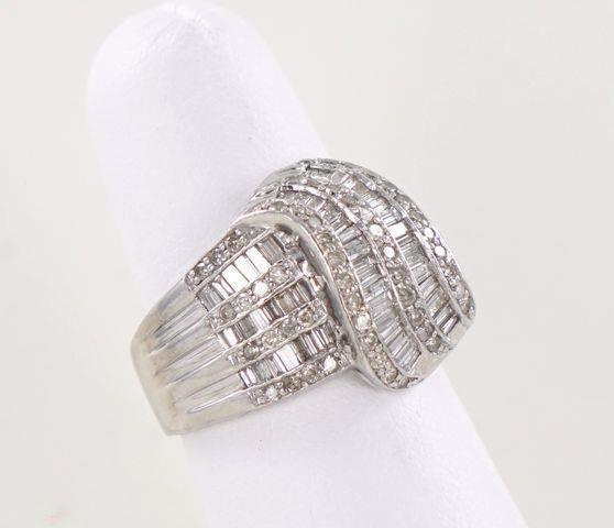 10KT WHITE GOLD DIAMOND CLUSTER FANCY BAND RING SIZE-7 2.75ATW 015387401