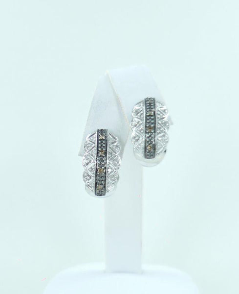 10KT WHITE GOLD DIAMOND FILAGREE STYLE EARRINGS .27ATW 990048960