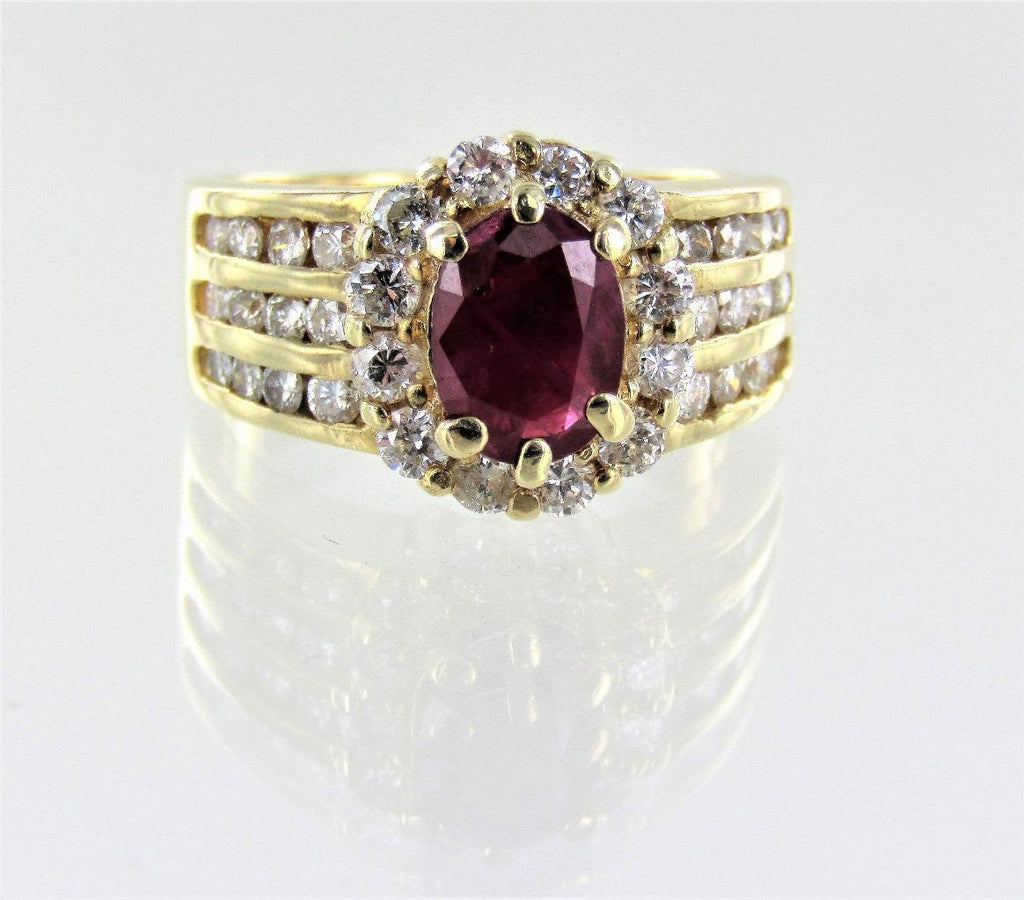 WOMAN'S 14KT YELLOW GOLD DIAMOND/RUBY COCKTAIL RING SIZE-6 016319101
