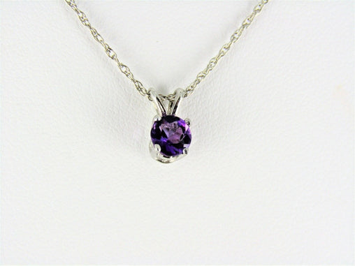 14KT WHITE GOLD AMETHYST PENDANT AND CHAIN