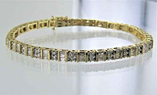"14KT YELLOW GOLD DIAMOND TENNIS STYLE BRACELET 7"" 14860901"