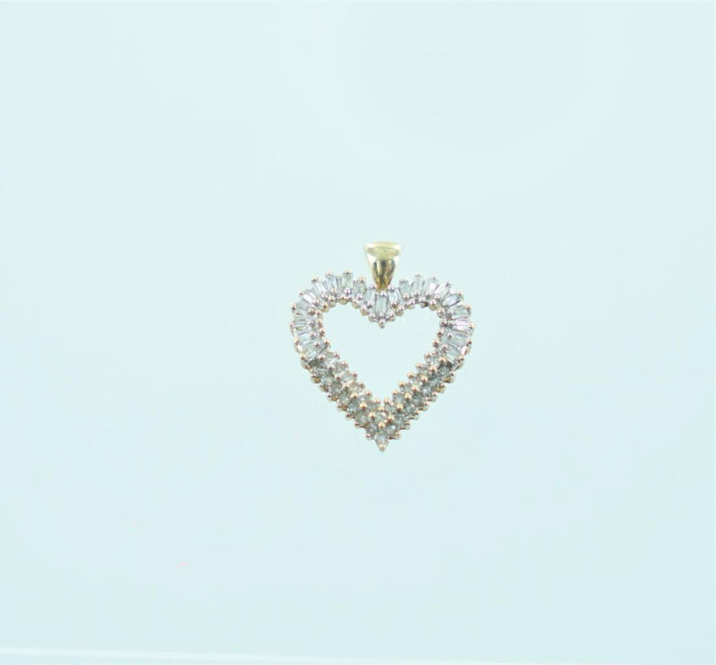 10KT YELLOW GOLD BAGUETTE & ROUND DIAMONDS HEART PENDANT 1.21 ATW 014412709
