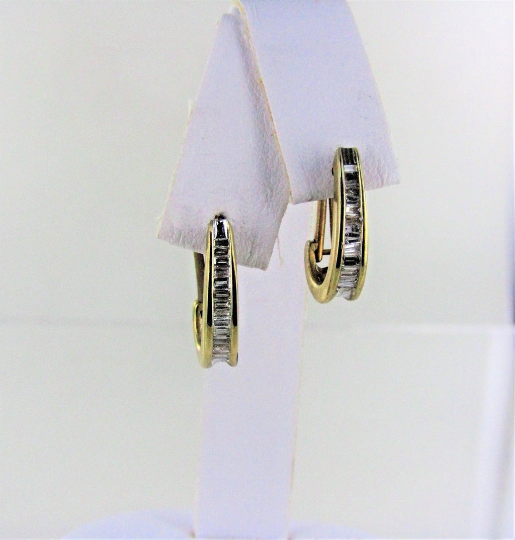 "10KT YELLOW GOLD DIAMOND 1/2 HOOP EARRINGS .75"" 990049977"