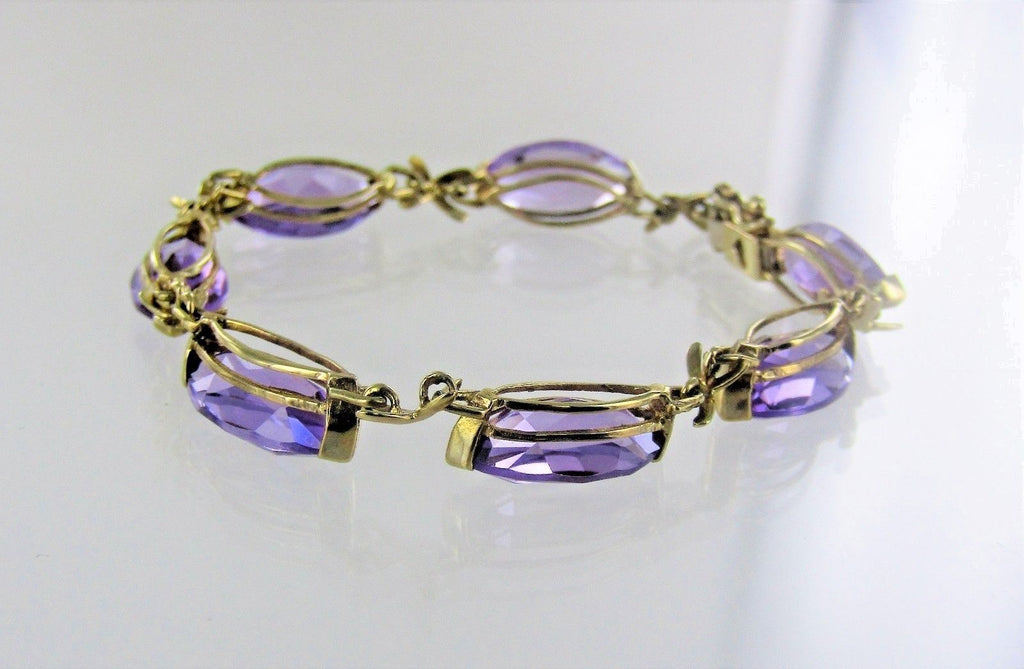"10KT YELLOW GOLD AMETHYST BOW LINKS BRACELET 6"" 990046598"