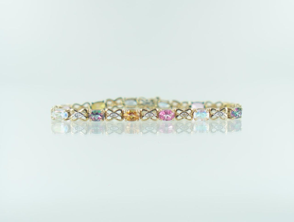 "10KT YELLOW GOLD DIAMOND & MULTI-COLORED STONES BRACELET .12 ATW 7"" 016540201"