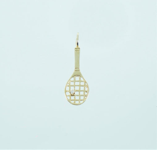 14KT YELLOW GOLD TENNIS RACKET WITH DIAMOND PENDANT .2 ATW 016302834