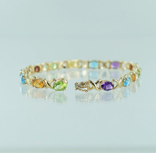 "14KT YELLOW GOLD MULTI-COLORED STONES BRACELET 7"" 014259805"
