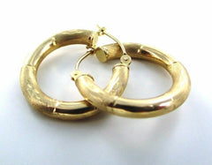 14KT YELLOW GOLD DIAMOND CUT DESIGN HOOP EARRINGS (15294633)