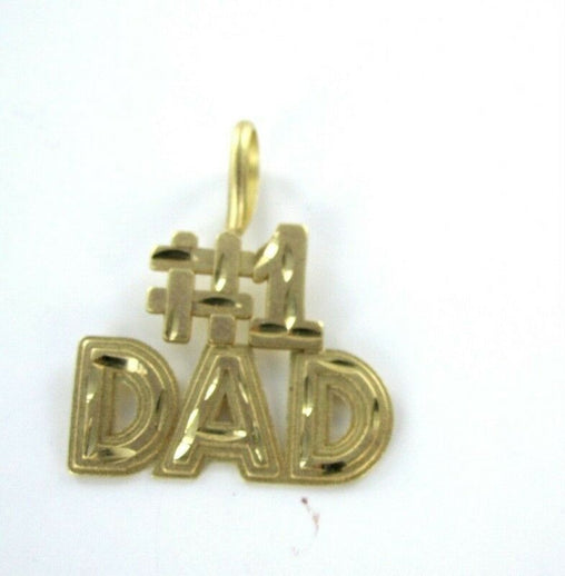 14K YELLOW GOLD PENDANT #1 DAD FATHER'S DAY SIGNED DESIGNER CHARM ME (990036997)