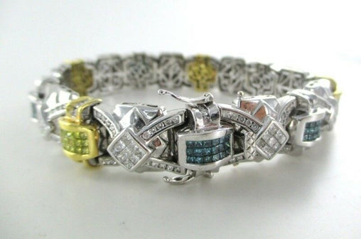 "14KT SOLID WHITE GOLD 234 PRINCESS CUT MULTI COLORED DIAMONDS 9"" BRAC (12959101)"