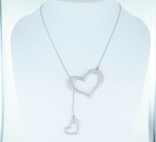 "14KT WHITE GOLD NECKCHAIN WITH 2 HEARTS 2.69 ATW 24"" (MNJ000157)"