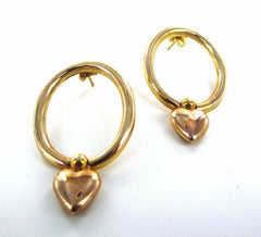 14KT YELLOW GOLD DANGLING HEART VALENTINE LOVE HOOP EARRINGS (15746902)